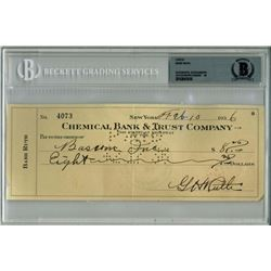 Babe Ruth Signed 1936 Personal Bank Check (BGS Encapsulated)