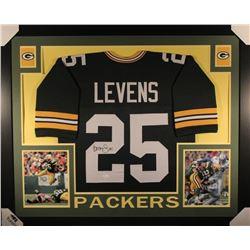 Dorsey Levens Signed Green Bay Packers 35x43 Custom Framed Jersey (JSA COA)