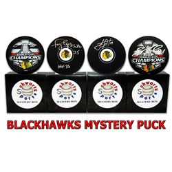 Chicago Blackhawks Signed Mystery Box Logo Hockey Puck - Champions Edition Series 6 (Limited to 100)