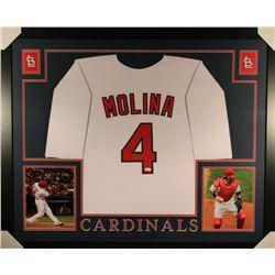 Yadier Molina Signed St. Louis Cardinals 35x43 Custom Framed Jersey (JSA COA)