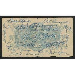 1953 New York Giants 1 Yen Note Team-Signed by (20) with Leo Durocher, Hoyt Wilhelm, Monte Irvin, Da