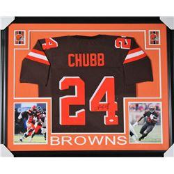 Nick Chubb Signed Cleveland Browns 35x43 Custom Framed Jersey (JSA COA)