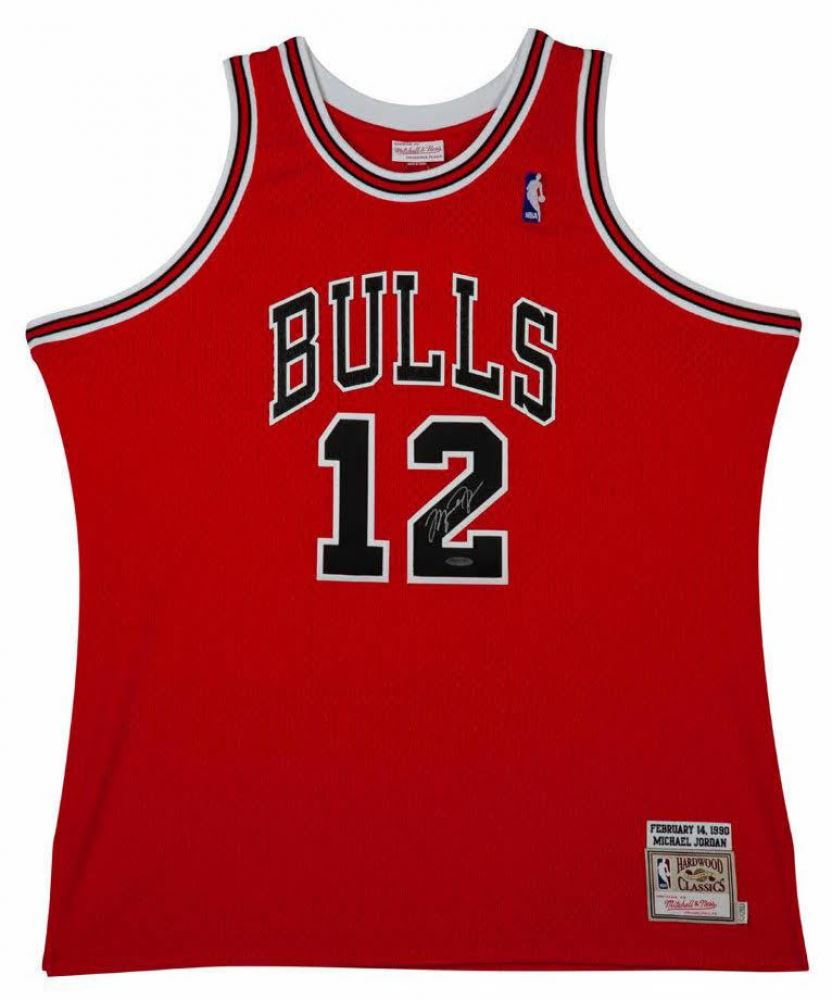official photos ee9ae bfdb9 Michael Jordan Signed Mitchell Ness #12 Authentic Chicago ...