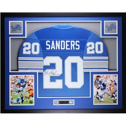 "Barry Sanders Signed Lions 35"" x 43"" Custom Framed Jersey (JSA COA)"