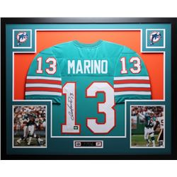 "Dan Marino Signed Dolphins 35"" x 43"" Custom Framed Jersey (JSA COA  Marino Hologram)"