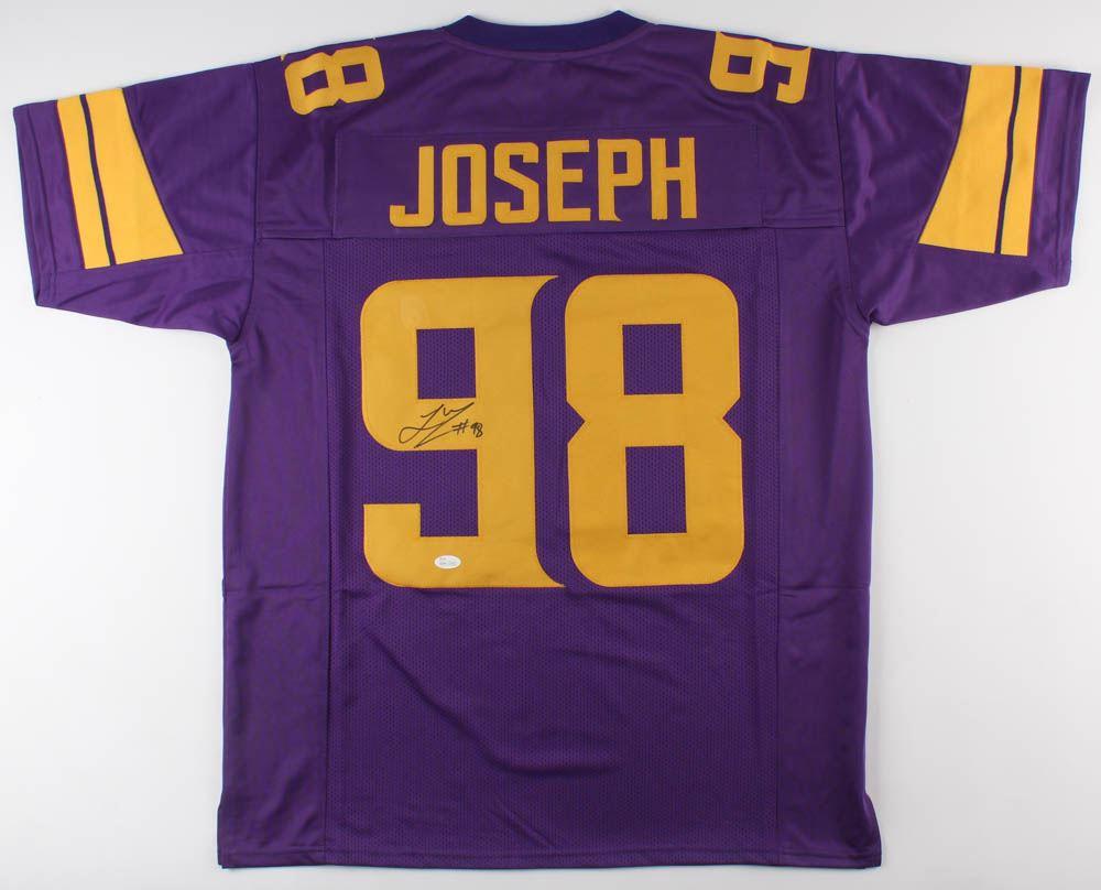 new style d627c 80fa2 Linval Joseph Signed Minnesota Vikings Color Rush Jersey ...