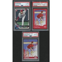 Lot of (3) PSA Graded 10 Shohei Ohtani Rookie Cards with 2018 Bowman #49 RC, 2018 Diamond Kings #73