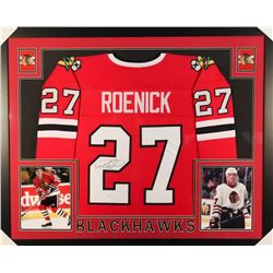 Jeremy Roenick Signed Blackhawks 35x43 Custom Framed Jersey (JSA COA)