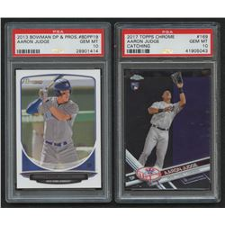 Lot of (2) PSA Graded 10 Aaron Judge Baseball Cards with 2017 Topps Chrome #169A RC  2013 Bowman Dra