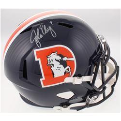 John Elway Signed Denver Broncos Full-Size Speed Color Rush Helmet (Beckett COA)