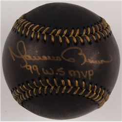 """Mariano Rivera Signed OML Black Leather Baseball Inscribed """"99 W.S. MVP"""" (JSA COA)"""