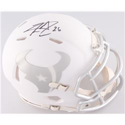 Lamar Miller Signed Houston Texans White Ice Custom Matte Speed Mini-Helmet (JSA COA)