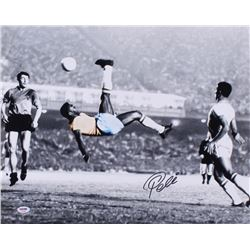"Pele Signed Brazil ""Bicycle Kick"" 16x20 Photo (PSA COA)"