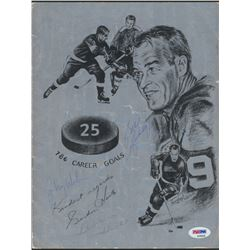 Bill Gadsby, Bobby Hull,  Johnny Wilson Signed Detroit Red Wings Gordie Howe Retrospect Program (PSA