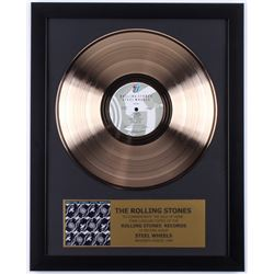 "The Rolling Stones Custom Framed 15.75x19.75 Gold Plated ""Steel Wheels"" Record Album Award Display"
