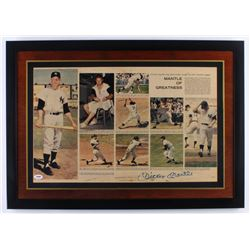 "Mickey Mantle Signed ""Mantle of Greatness"" 19.5x27.5 Custom Framed Photo Display (PSA LOA)"
