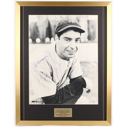 Joe DiMaggio Signed New York Yankees 24x31.75 Custom Framed Cut with Championship Rings (PSA LOA)