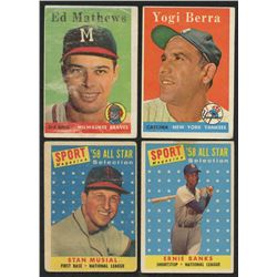 Lot of (4) 1958 Topps Baseball Cards with #370 Yogi Berra, #482 Ernie Banks, #440 Eddie Mathews, #47