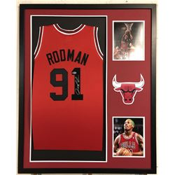 Dennis Rodman Signed Chicago Bulls 34x42 Custom Framed Jersey Display (Beckett COA)