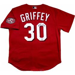 "Ken Griffey Jr. Signed Cincinnati Reds Mitchell  Ness Throwback Jersey Inscribed ""HOF 16"" (TriStar H"