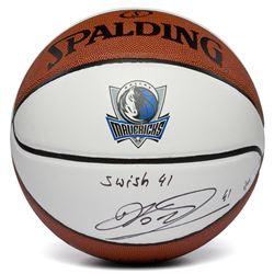 "Dirk Nowitzki Signed LE Dallas Mavericks Logo Basketball Inscribed ""Swish 41"" (Fanatics Hologram)"