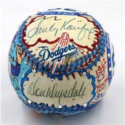 Sandy Koufax  Don Drysdale Signed Brooklyn Dodgers Baseball Hand-Painted by Charles Fazzino (PSA LOA