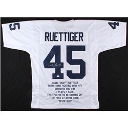Rudy Ruettiger Signed Notre Dame Fighting Irish Career Highlight Stat Jersey (JSA COA)