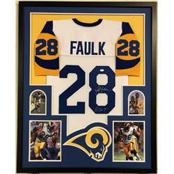 """Marshall Faulk Signed Los Angeles Rams 35x43 Custom Framed Jersey Inscribed """"G.S.O.T."""" (JSA COA)"""