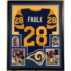 """Marshall Faulk Signed Los Angeles Rams 35x43 Custom Framed Jersey Inscribed """"HOF 20XI""""(JSA COA)"""