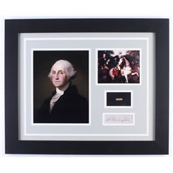 George Washington 19.5x23.5 Custom Framed Cut Display with (1) Hand-Written Word from Letter (JSA LO