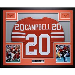 """Earl Campbell Signed Texas Longhorns 35"""" x 43"""" Custom Framed Jersey Inscribed """"HT 77"""" (JSA COA)"""