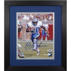 Barry Sanders Signed Lions 13.75x15.5  Custom Framed Photo Display (PSA COA)