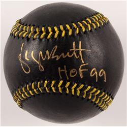 """George Brett Signed Black Leather Baseball Inscribed """"HOF 99"""" (MLB Hologram)"""