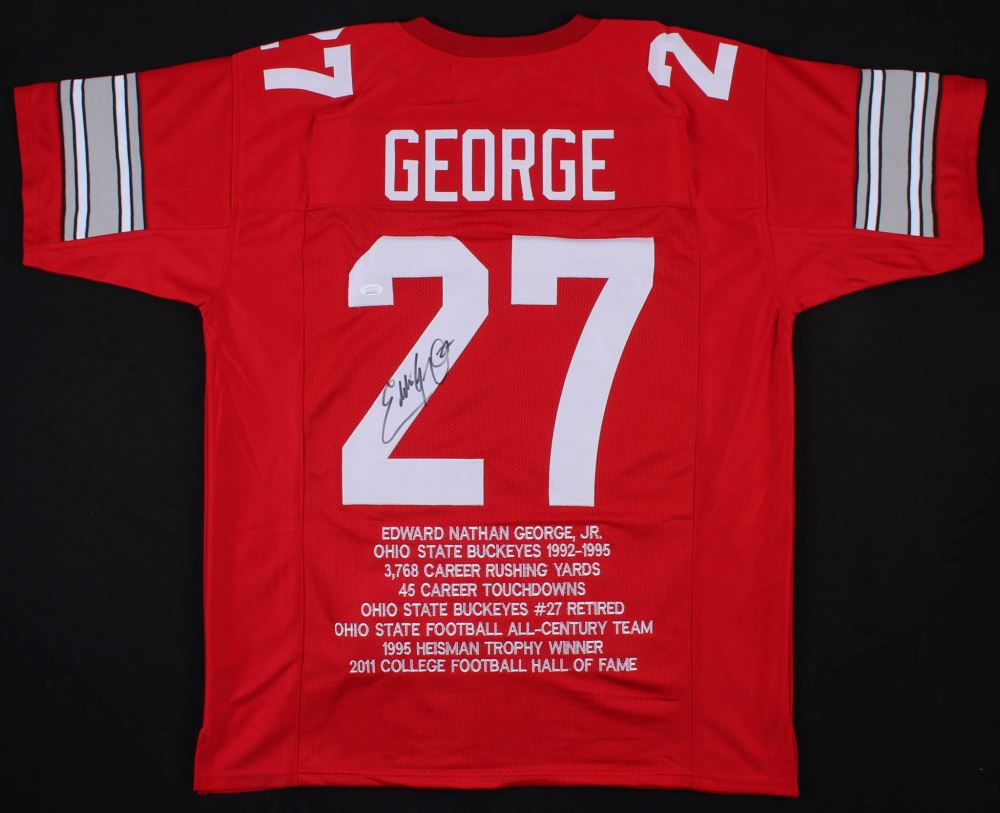 best loved f3aa0 10f1d Eddie George Signed Ohio State Buckeyes Career Highlight ...