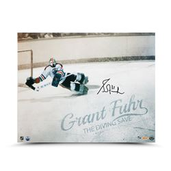 "Grant Fuhr Signed LE Oilers ""The Diving Save"" 16x20 Photo (UDA COA)"