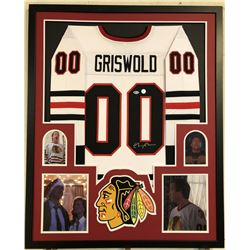 "Chevy Chase Signed Chicago Chicago Blackhawks 34"" x 42"" Custom Framed Jersey (Beckett COA  Chase Hol"