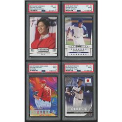 Lot of (4) PSA Graded 9 Shohei Ohtani Baseball Cards with 2018 Leaf Ohtani Legends Exclusive Edition