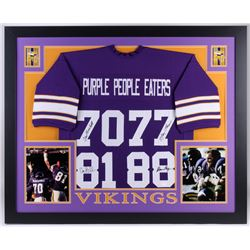"""Vikings """"Purple People Eaters"""" 35x43 Custom Framed Jersey Team-Signed by (4) with Alan Page, Carl El"""