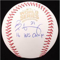 """Rob Zastryzny Signed 2016 Official World Series Baseball Inscribed """"16 WS Champs""""  (JSA COA)"""
