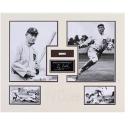 Ty Cobb 16x20 Custom Matted Photo Display with (1) Hand-Written Word From Letter (PSA LOA)