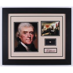 Thomas Jefferson 19.5x23.5 Custom Framed Display with (1) Hand-Written Word From Letter (JSA LOA Cop