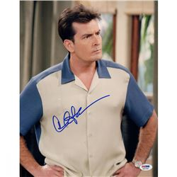 "Charlie Sheen Signed ""Two and a Half Men"" 11x14 Photo (Steiner COA  PSA)"