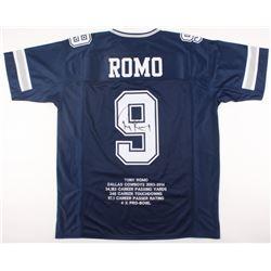Tony Romo Signed Cowboys Career Highlight Stat Jersey (JSA COA)