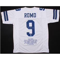 Tony Romo Signed Cowboys Career Highlight Stats Jersey (JSA COA)