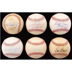 """Lot of (6) Hall Of Famers Signed Baseballs with Cal Ripken Jr, """"Boog"""" Powell, Monte Irvin, Bob Felle"""