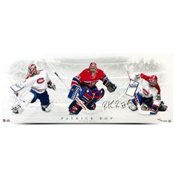 """Patrick Roy Signed Canadiens """"Triple Save"""" 15x36 Limited Edition Photo (UDA COA)"""