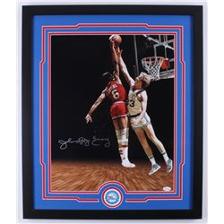 Julius Erving Signed Philadelphia 76ers 22x26 Custom Framed Photo Display (JSA COA)