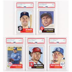 Lot of (5) PSA Graded 2018 Topps Living Baseball Cards with #75 Joe Mauer (PSA 9), #42 Jackie Robins