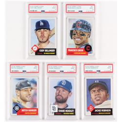 Lot of (5) PSA Graded 9 2018 Topps Living Baseball Cards with #42 Jackie Robinson, #24 Chase Headley