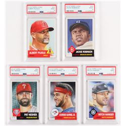 Lot of (5) PSA Graded 9 2018 Topps Living Baseball Cards with #42 Jackie Robinson, #22 Albert Pujols